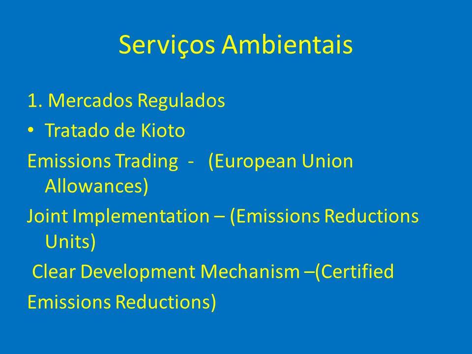 Serviços Ambientais 1. Mercados Regulados Tratado de Kioto Emissions Trading - (European Union Allowances) Joint Implementation – (Emissions Reduction