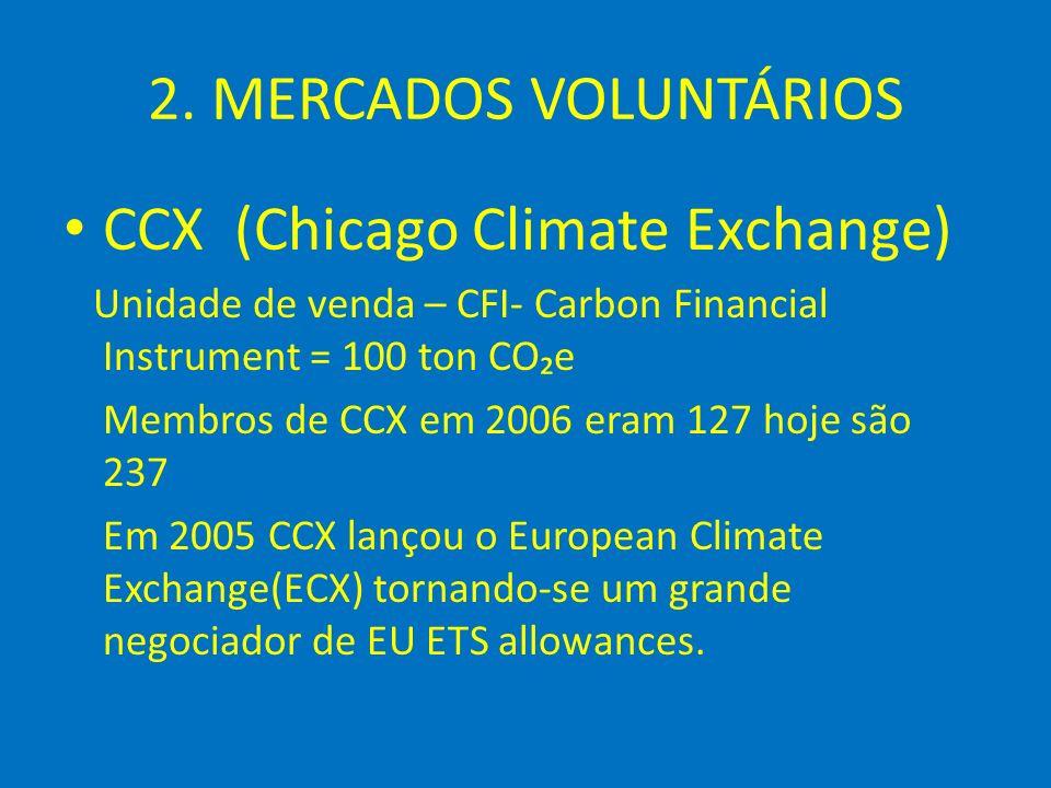 2. MERCADOS VOLUNTÁRIOS CCX (Chicago Climate Exchange) Unidade de venda – CFI- Carbon Financial Instrument = 100 ton COe Membros de CCX em 2006 eram 1