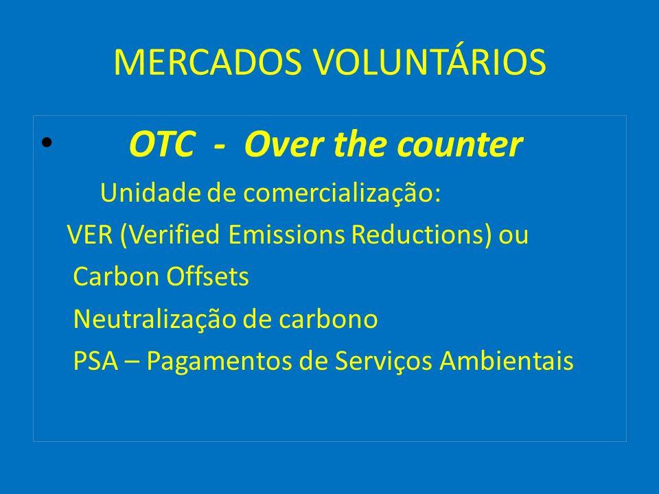 MERCADOS VOLUNTÁRIOS OTC - Over the counter Unidade de comercialização: VER (Verified Emissions Reductions) ou Carbon Offsets Neutralização de carbono