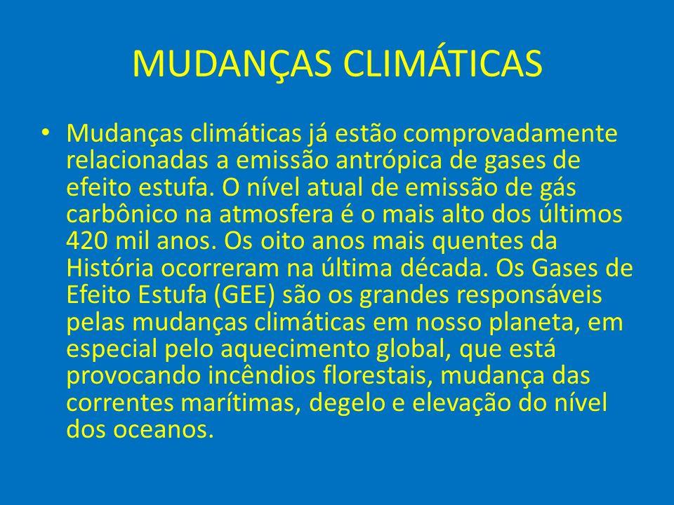 EFEITOS DA MUDANÇA CLIMATICA PARA O BRASIL Tendência de aumento de episódios de chuva intensa no Centro-oeste e Sudeste do Brasil.