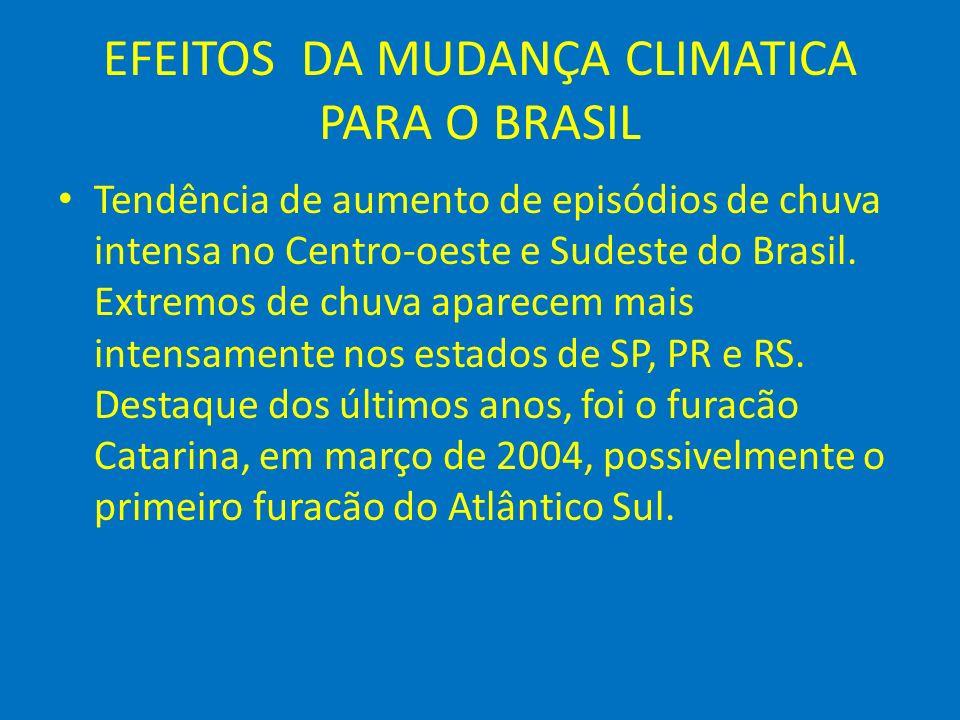 EFEITOS DA MUDANÇA CLIMATICA PARA O BRASIL Tendência de aumento de episódios de chuva intensa no Centro-oeste e Sudeste do Brasil. Extremos de chuva a