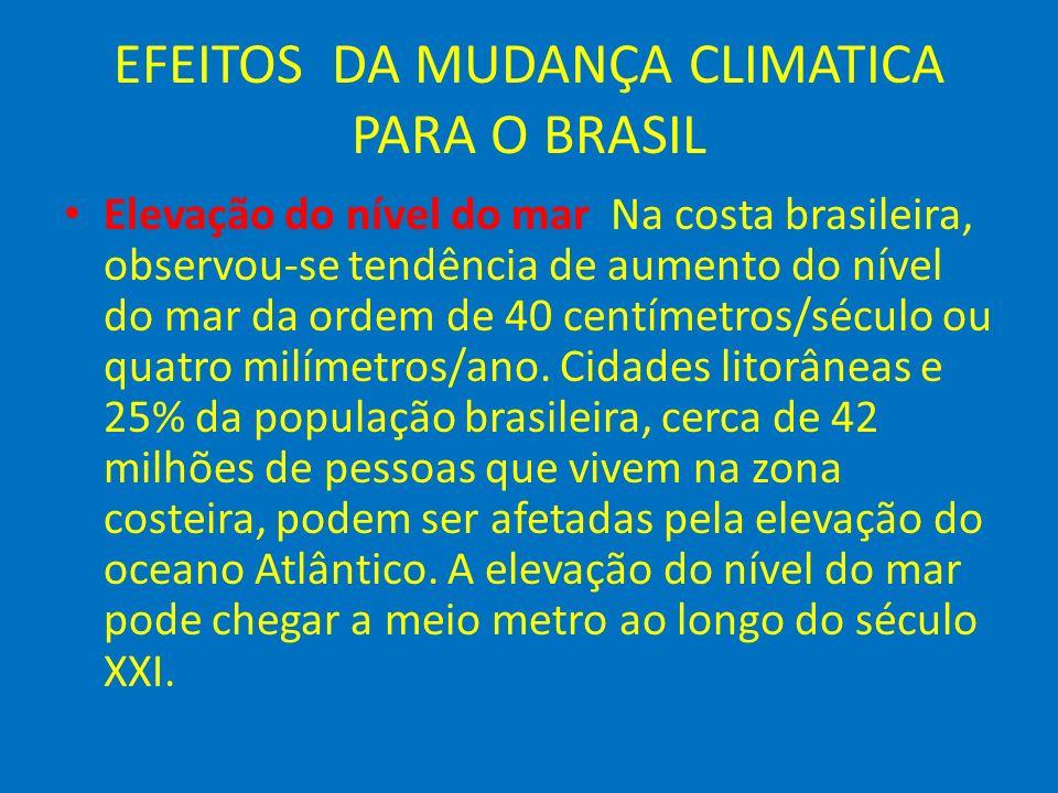 EFEITOS DA MUDANÇA CLIMATICA PARA O BRASIL Elevação do nível do mar Na costa brasileira, observou-se tendência de aumento do nível do mar da ordem de