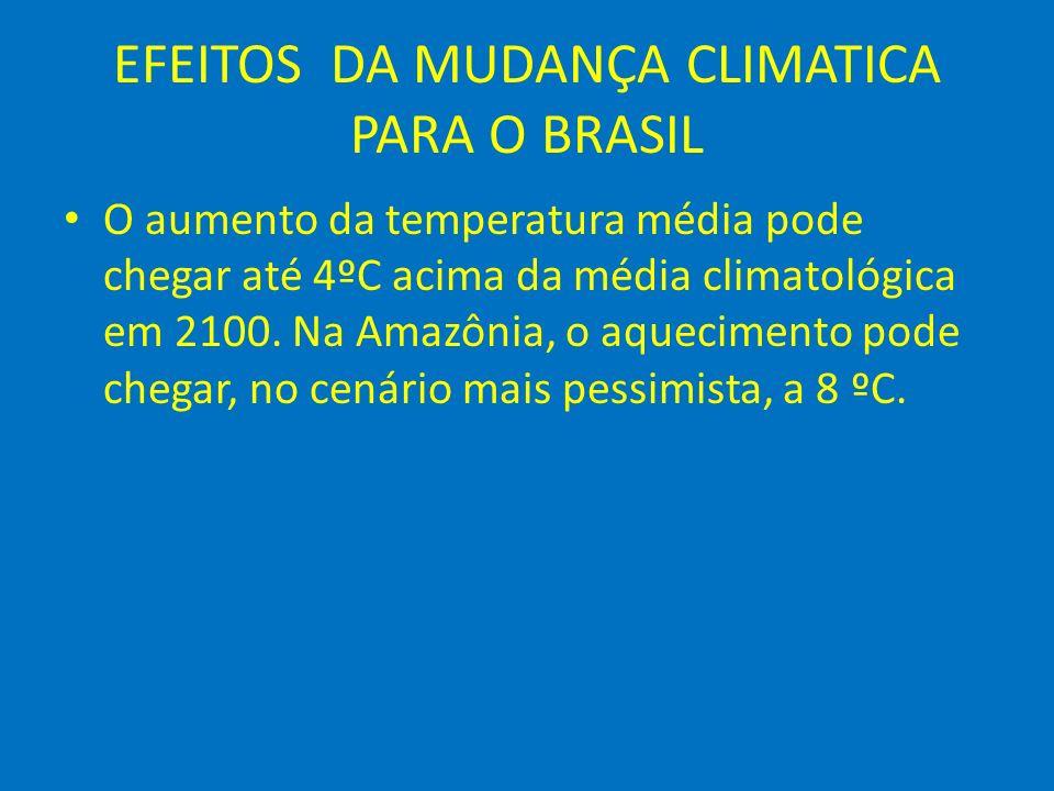 EFEITOS DA MUDANÇA CLIMATICA PARA O BRASIL O aumento da temperatura média pode chegar até 4ºC acima da média climatológica em 2100. Na Amazônia, o aqu