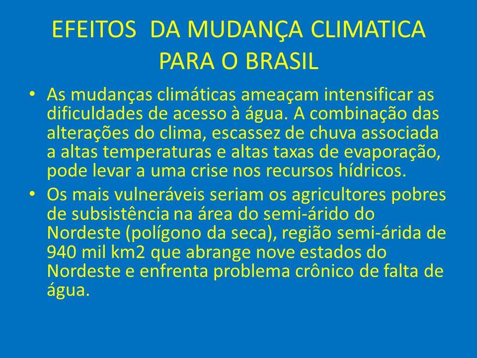 EFEITOS DA MUDANÇA CLIMATICA PARA O BRASIL As mudanças climáticas ameaçam intensificar as dificuldades de acesso à água. A combinação das alterações d