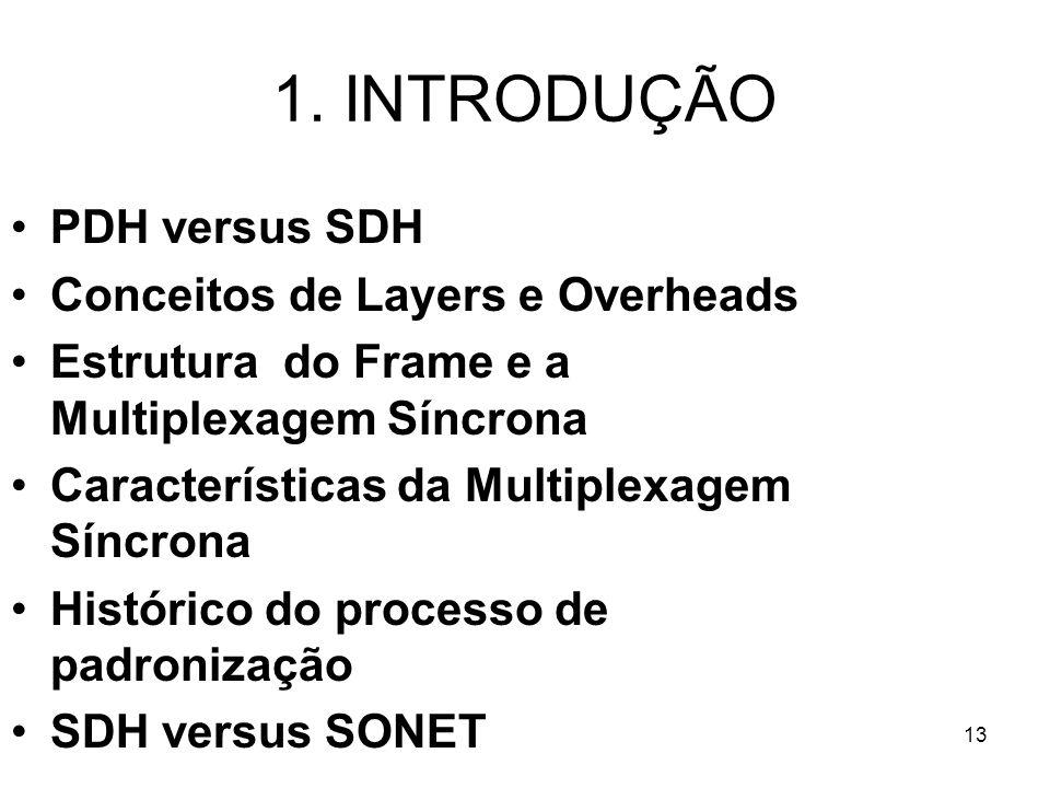 13 1. INTRODUÇÃO PDH versus SDH Conceitos de Layers e Overheads Estrutura do Frame e a Multiplexagem Síncrona Características da Multiplexagem Síncron