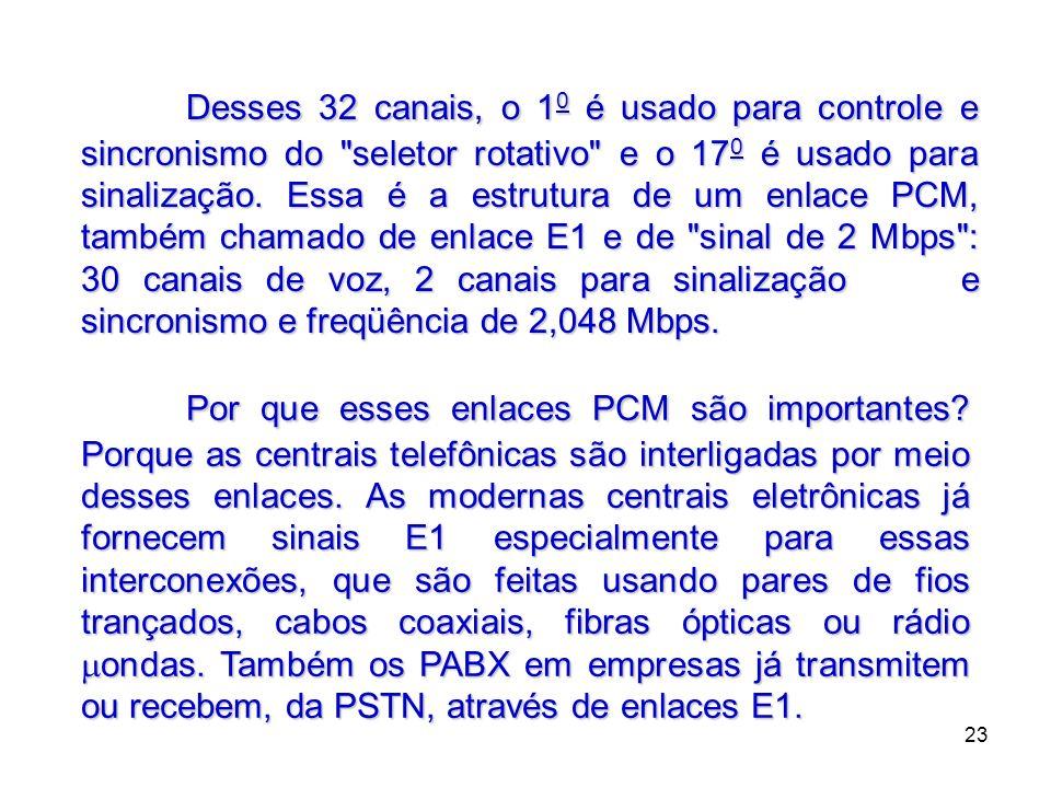 23 Desses 32 canais, o 1 0 é usado para controle e sincronismo do