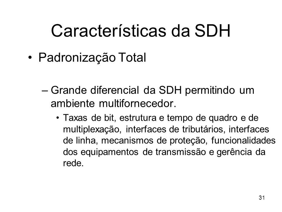 31 Características da SDH Padronização Total –Grande diferencial da SDH permitindo um ambiente multifornecedor. Taxas de bit, estrutura e tempo de qua