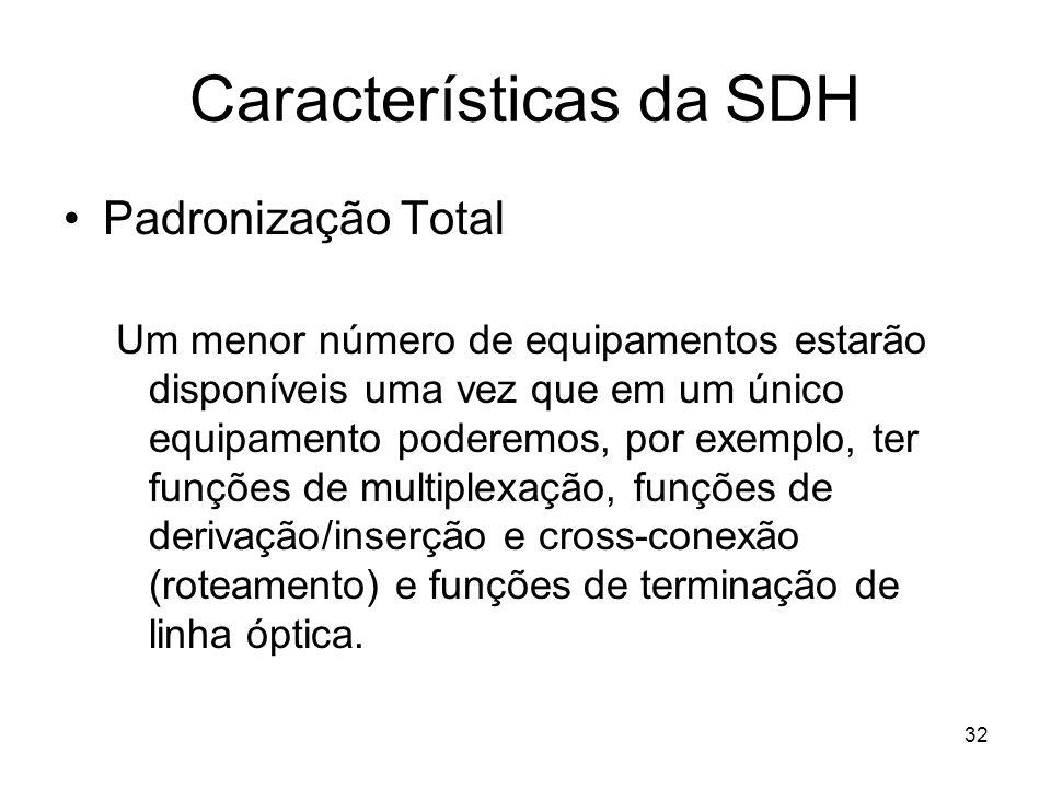 32 Características da SDH Padronização Total Um menor número de equipamentos estarão disponíveis uma vez que em um único equipamento poderemos, por ex