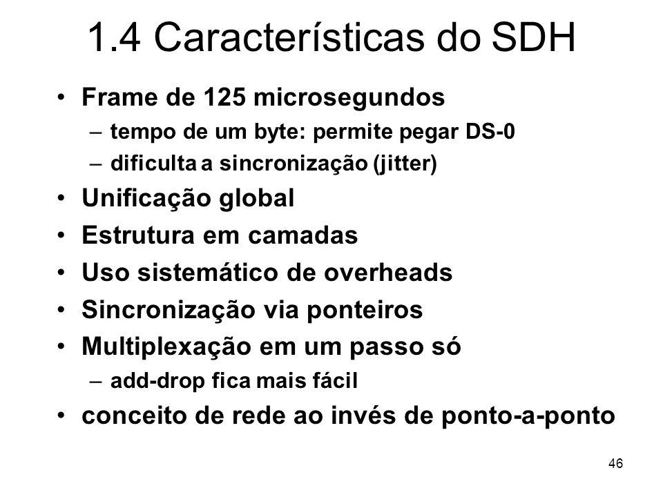 46 1.4 Características do SDH Frame de 125 microsegundos –tempo de um byte: permite pegar DS-0 –dificulta a sincronização (jitter) Unificação global E