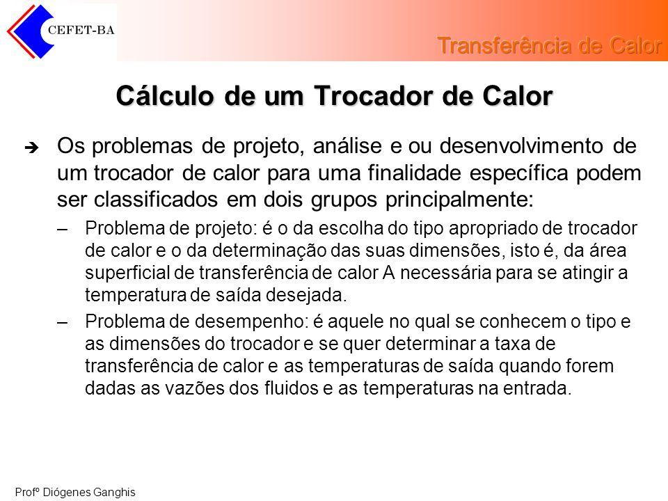 Profº Diógenes Ganghis Cálculo de um Trocador de Calor Os problemas de projeto, análise e ou desenvolvimento de um trocador de calor para uma finalida