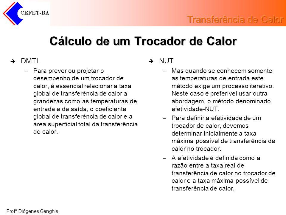 Profº Diógenes Ganghis Cálculo de um Trocador de Calor DMTL –Para prever ou projetar o desempenho de um trocador de calor, é essencial relacionar a ta