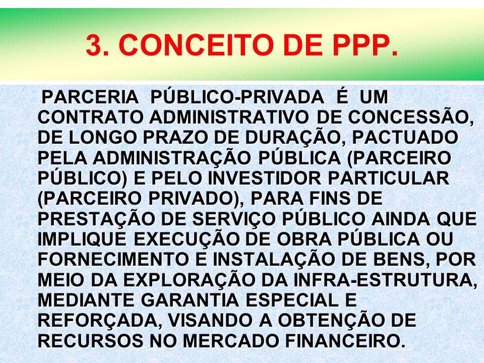 11 3. CONCEITO DE PPP. PARCERIA PÚBLICO-PRIVADA É UM CONTRATO ADMINISTRATIVO DE CONCESSÃO, DE LONGO PRAZO DE DURAÇÃO, PACTUADO PELA ADMINISTRAÇÃO PÚBL