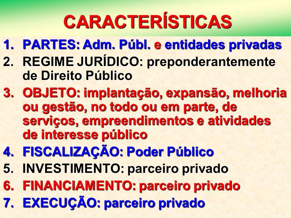 12 CARACTERÍSTICAS CARACTERÍSTICAS 1.PARTES: Adm. Públ. e entidades privadas 2.REGIME JURÍDICO: preponderantemente de Direito Público 3.OBJETO: implan