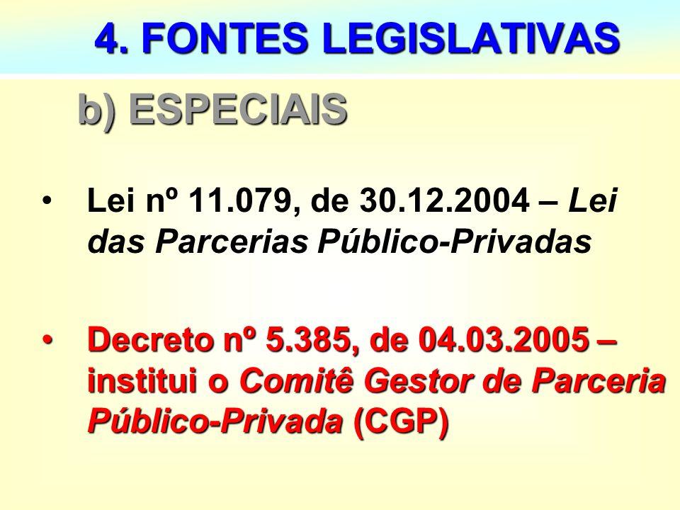 14 4. FONTES LEGISLATIVAS 4. FONTES LEGISLATIVAS b) ESPECIAIS b) ESPECIAIS Lei nº 11.079, de 30.12.2004 – Lei das Parcerias Público-Privadas Decreto n