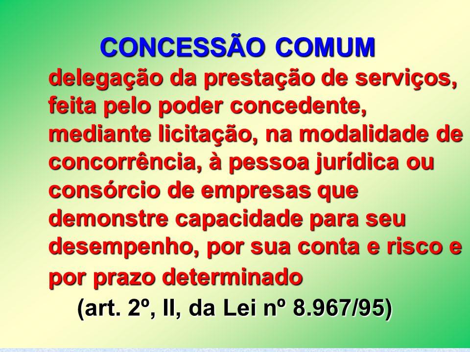 16 CONCESSÃO COMUM delegação da prestação de serviços, feita pelo poder concedente, mediante licitação, na modalidade de concorrência, à pessoa jurídi
