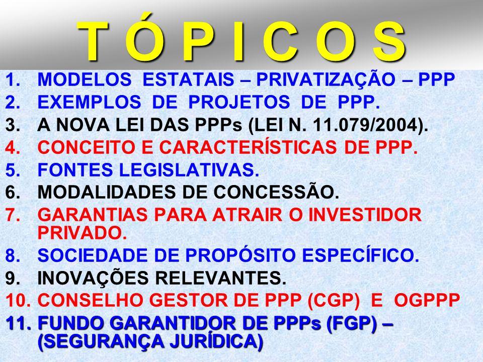 2 T Ó P I C O S 1.MODELOS ESTATAIS – PRIVATIZAÇÃO – PPP 2.EXEMPLOS DE PROJETOS DE PPP. 3.A NOVA LEI DAS PPPs (LEI N. 11.079/2004). 4.CONCEITO E CARACT