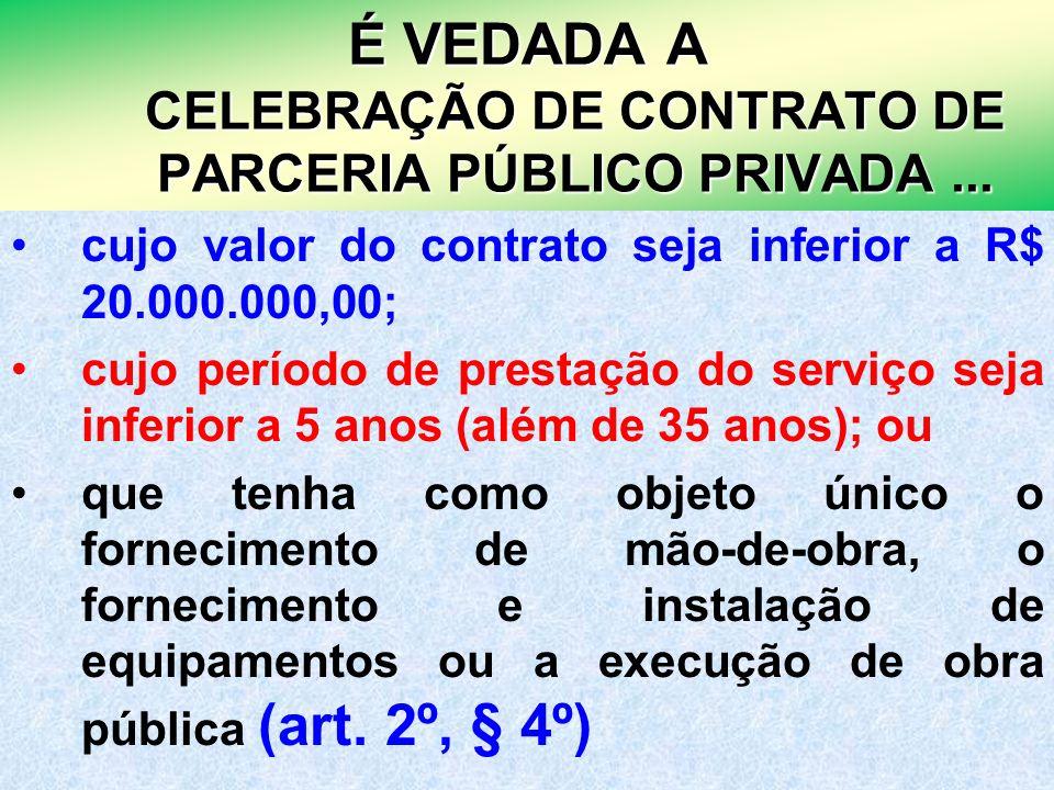 20 É VEDADA A CELEBRAÇÃO DE CONTRATO DE PARCERIA PÚBLICO PRIVADA... cujo valor do contrato seja inferior a R$ 20.000.000,00; cujo período de prestação