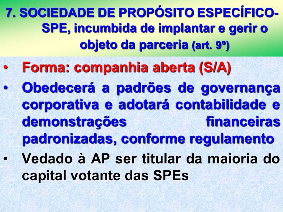 23 7. SOCIEDADE DE PROPÓSITO ESPECÍFICO- SPE, incumbida de implantar e gerir o objeto da parceria (art. 9º) Forma: companhia aberta (S/A)Forma: compan