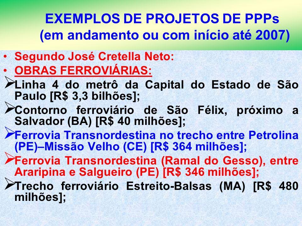 3 EXEMPLOS DE PROJETOS DE PPPs (em andamento ou com início até 2007) Segundo José Cretella Neto: OBRAS FERROVIÁRIAS: Linha 4 do metrô da Capital do Es