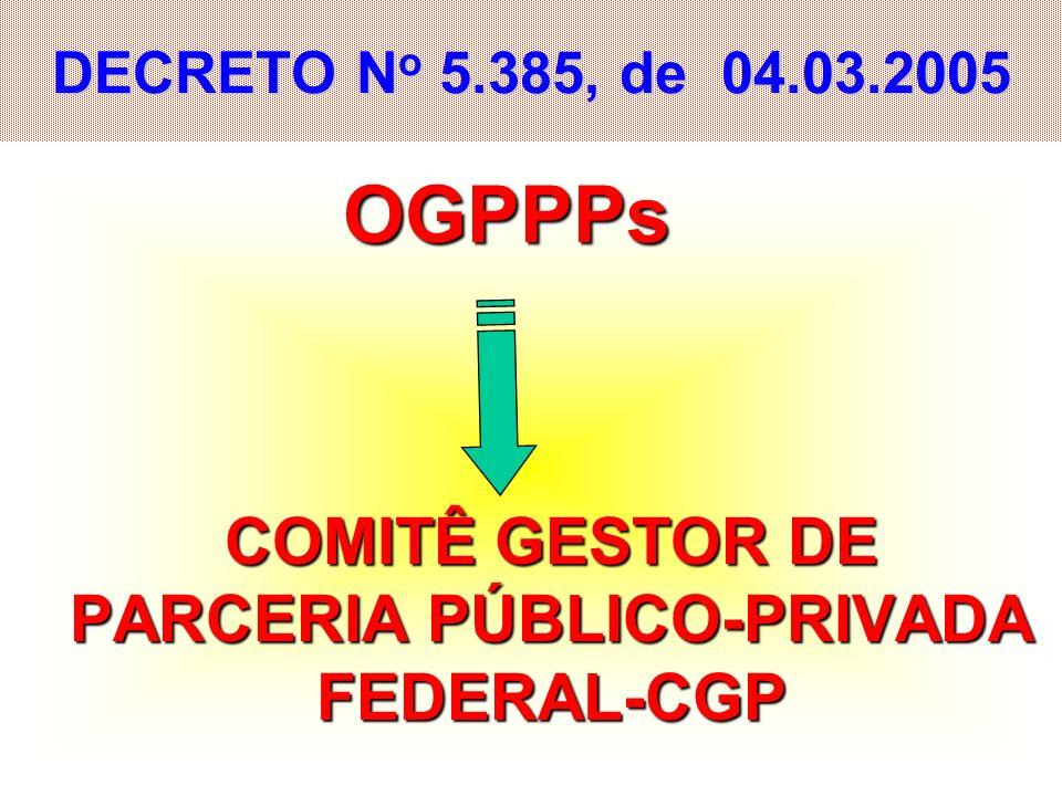 31 DECRETO N o 5.385, de 04.03.2005 OGPPPs OGPPPs COMITÊ GESTOR DE PARCERIA PÚBLICO-PRIVADA FEDERAL-CGP