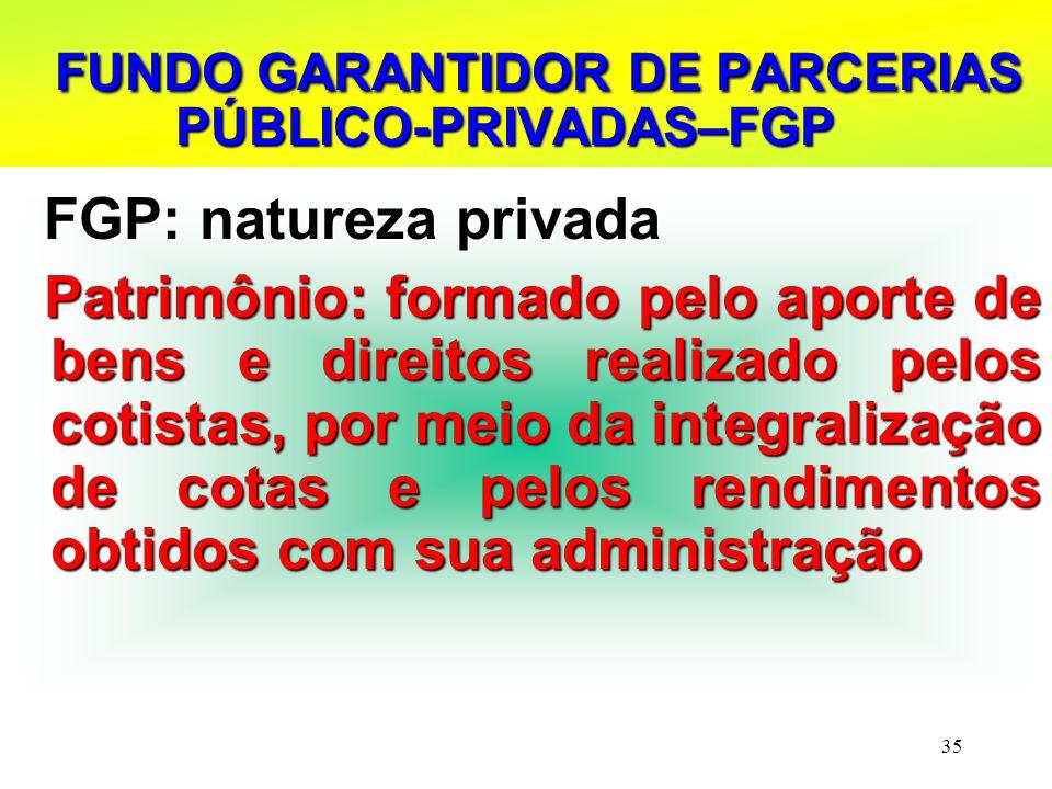 35 FUNDO GARANTIDOR DE PARCERIAS PÚBLICO-PRIVADAS–FGP FUNDO GARANTIDOR DE PARCERIAS PÚBLICO-PRIVADAS–FGP FGP: natureza privada FGP: natureza privada P