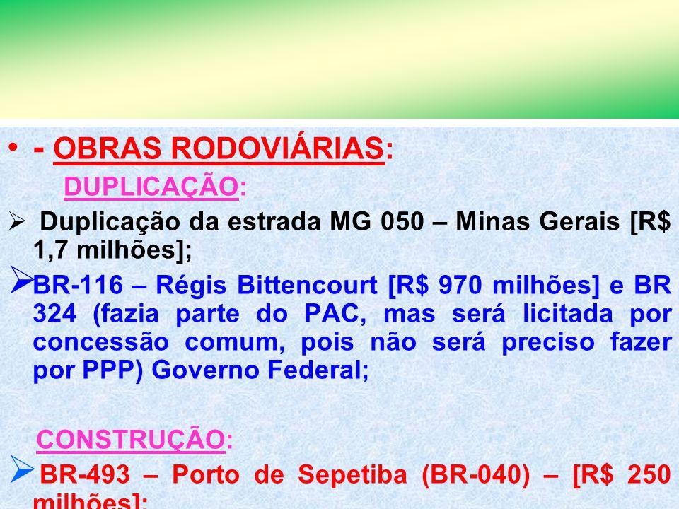7 - OBRAS RODOVIÁRIAS: DUPLICAÇÃO: Duplicação da estrada MG 050 – Minas Gerais [R$ 1,7 milhões]; BR-116 – Régis Bittencourt [R$ 970 milhões] e BR 324