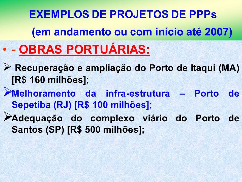 8 EXEMPLOS DE PROJETOS DE PPPs (em andamento ou com início até 2007) - OBRAS PORTUÁRIAS: Recuperação e ampliação do Porto de Itaqui (MA) [R$ 160 milhõ