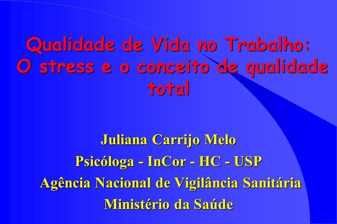 Qualidade de Vida no Trabalho: O stress e o conceito de qualidade total Juliana Carrijo Melo Psicóloga - InCor - HC - USP Agência Nacional de Vigilânc