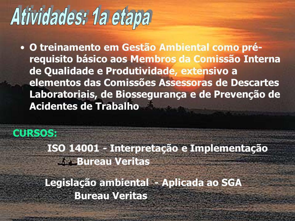 O treinamento em Gestão Ambiental como pré- requisito básico aos Membros da Comissão Interna de Qualidade e Produtividade, extensivo a elementos das Comissões Assessoras de Descartes Laboratoriais, de Biossegurança e de Prevenção de Acidentes de Trabalho ISO 14001 - Interpretação e Implementação Bureau Veritas CURSOS: Legislação ambiental - Aplicada ao SGA Bureau Veritas