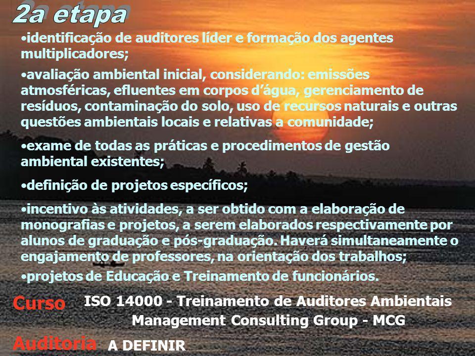 ISO 14000 - Treinamento de Auditores Ambientais Management Consulting Group - MCG Curso Auditoria A DEFINIR identificação de auditores líder e formação dos agentes multiplicadores; avaliação ambiental inicial, considerando: emissões atmosféricas, efluentes em corpos dágua, gerenciamento de resíduos, contaminação do solo, uso de recursos naturais e outras questões ambientais locais e relativas a comunidade; exame de todas as práticas e procedimentos de gestão ambiental existentes; definição de projetos específicos; incentivo às atividades, a ser obtido com a elaboração de monografias e projetos, a serem elaborados respectivamente por alunos de graduação e pós-graduação.