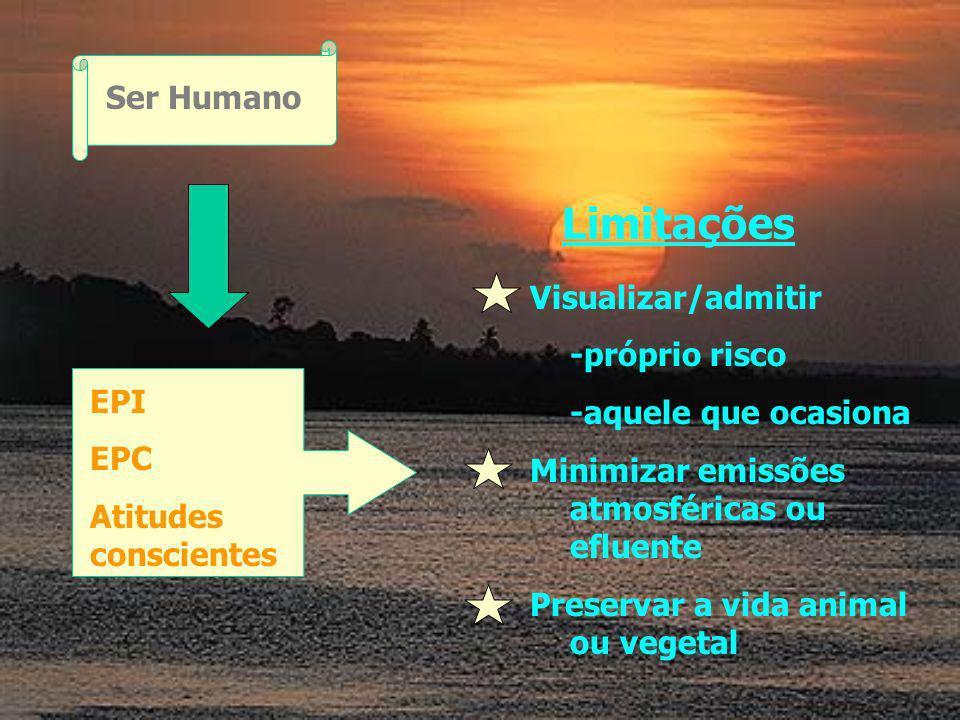 Ser Humano EPI EPC Atitudes conscientes Limitações Visualizar/admitir -próprio risco -aquele que ocasiona Minimizar emissões atmosféricas ou efluente Preservar a vida animal ou vegetal