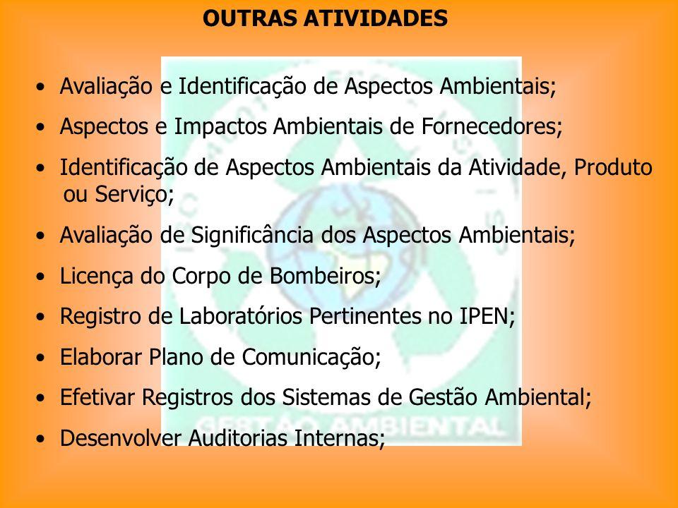Avaliação e Identificação de Aspectos Ambientais; Aspectos e Impactos Ambientais de Fornecedores; Identificação de Aspectos Ambientais da Atividade, P