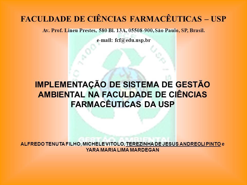 FACULDADE DE CIÊNCIAS FARMACÊUTICAS – USP Av. Prof. Lineu Prestes, 580 Bl. 13A, 05508-900, São Paulo, SP, Brasil. e-mail: fcf@edu.usp.br IMPLEMENTAÇÃO