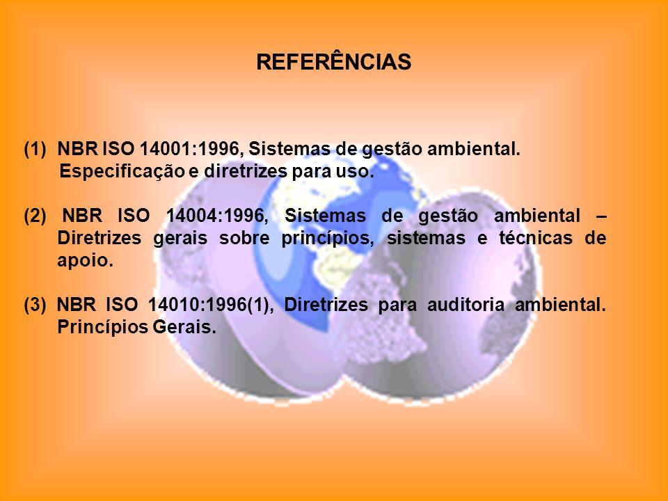 REFERÊNCIAS (1)NBR ISO 14001:1996, Sistemas de gestão ambiental. Especificação e diretrizes para uso. (2) NBR ISO 14004:1996, Sistemas de gestão ambie