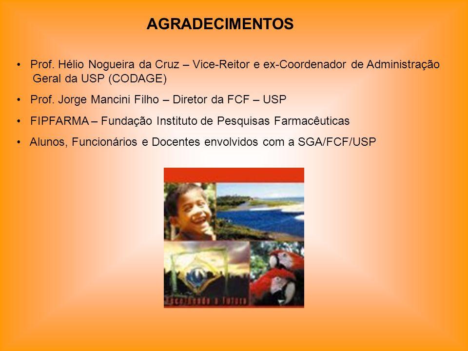 AGRADECIMENTOS Prof. Hélio Nogueira da Cruz – Vice-Reitor e ex-Coordenador de Administração Geral da USP (CODAGE) Prof. Jorge Mancini Filho – Diretor
