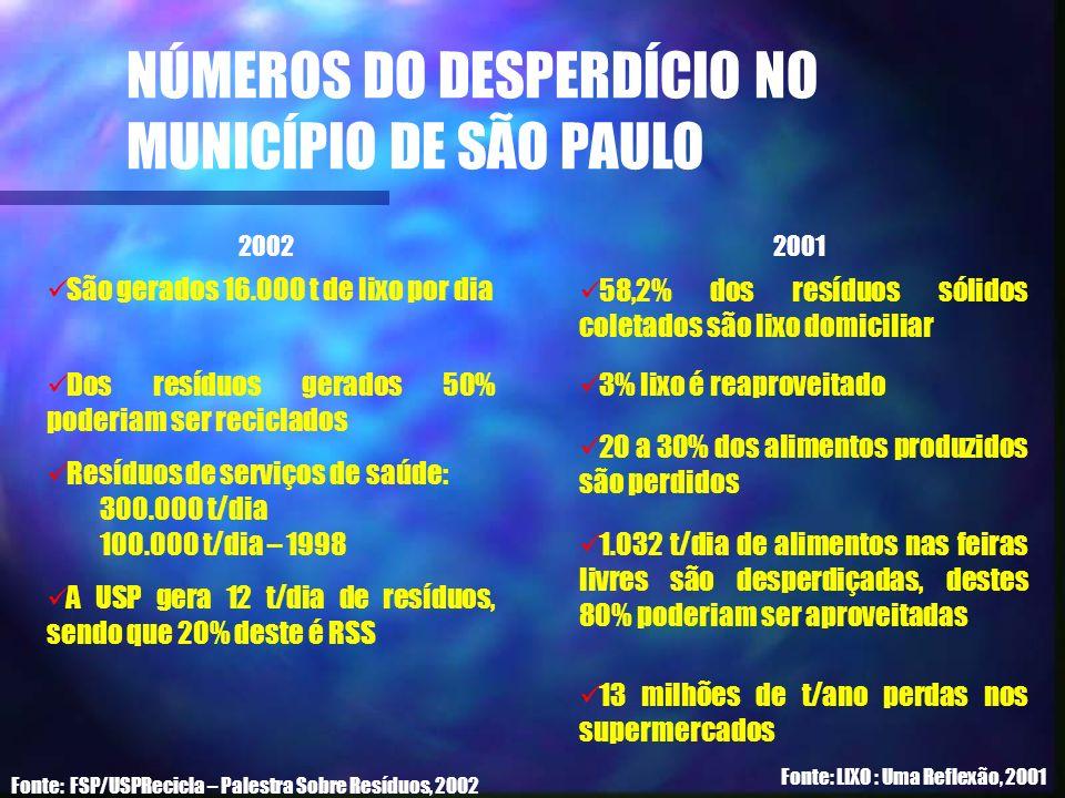 NÚMEROS DO DESPERDÍCIO NO MUNICÍPIO DE SÃO PAULO Fonte: FSP/USPRecicla – Palestra Sobre Resíduos, 2002 São gerados 16.000 t de lixo por dia Dos resídu