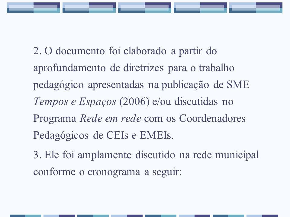 2. O documento foi elaborado a partir do aprofundamento de diretrizes para o trabalho pedagógico apresentadas na publicação de SME Tempos e Espaços (2