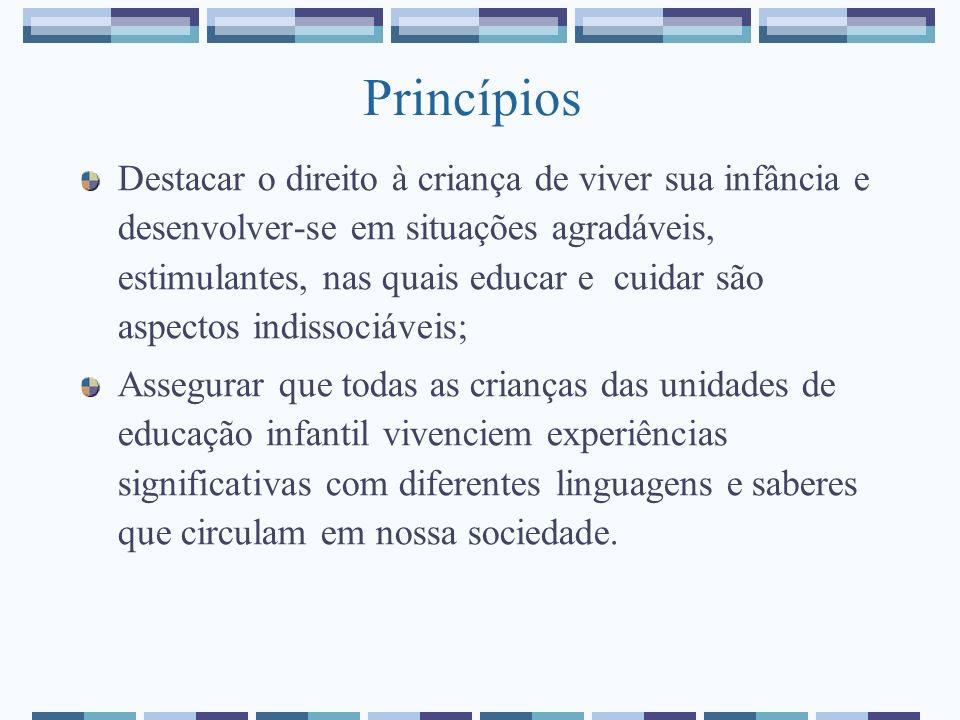 Princípios Destacar o direito à criança de viver sua infância e desenvolver-se em situações agradáveis, estimulantes, nas quais educar e cuidar são as