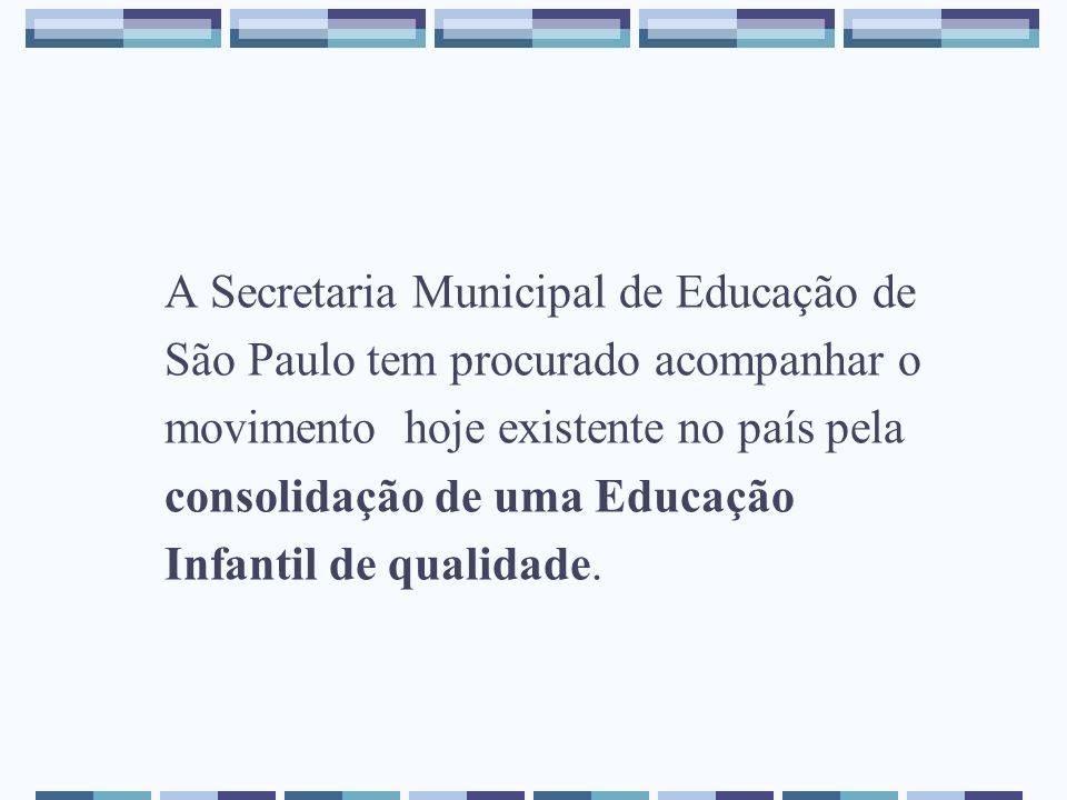 A Secretaria Municipal de Educação de São Paulo tem procurado acompanhar o movimento hoje existente no país pela consolidação de uma Educação Infantil