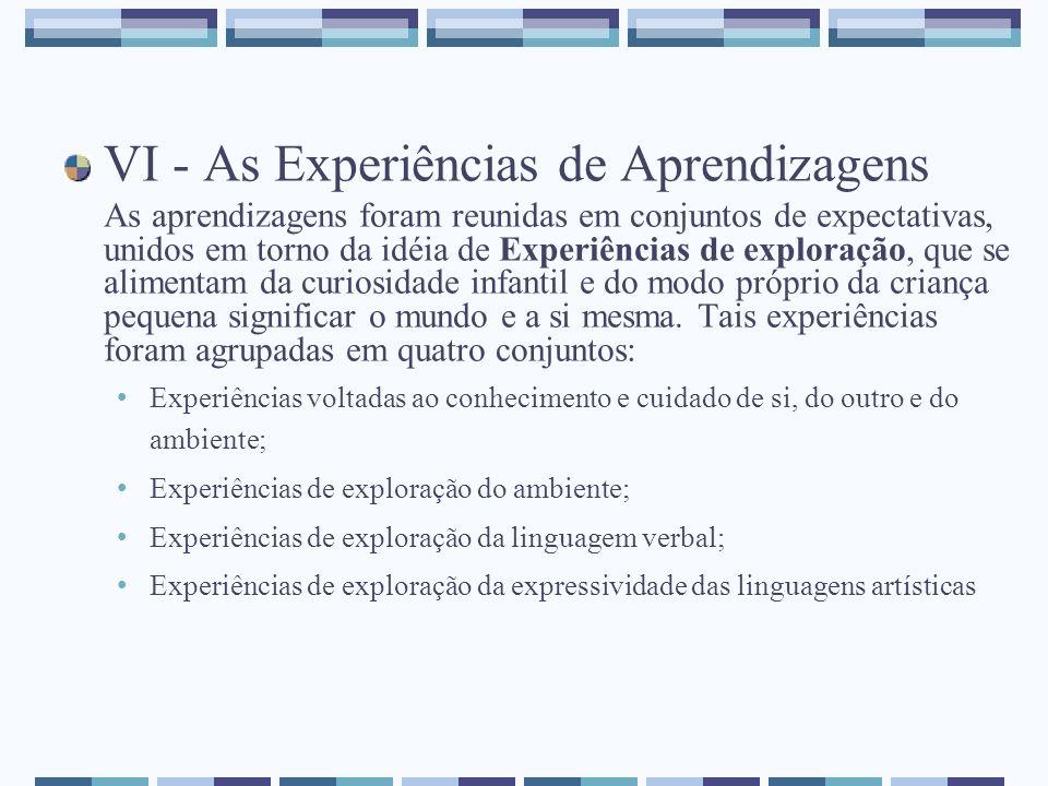 VI - As Experiências de Aprendizagens As aprendizagens foram reunidas em conjuntos de expectativas, unidos em torno da idéia de Experiências de explor