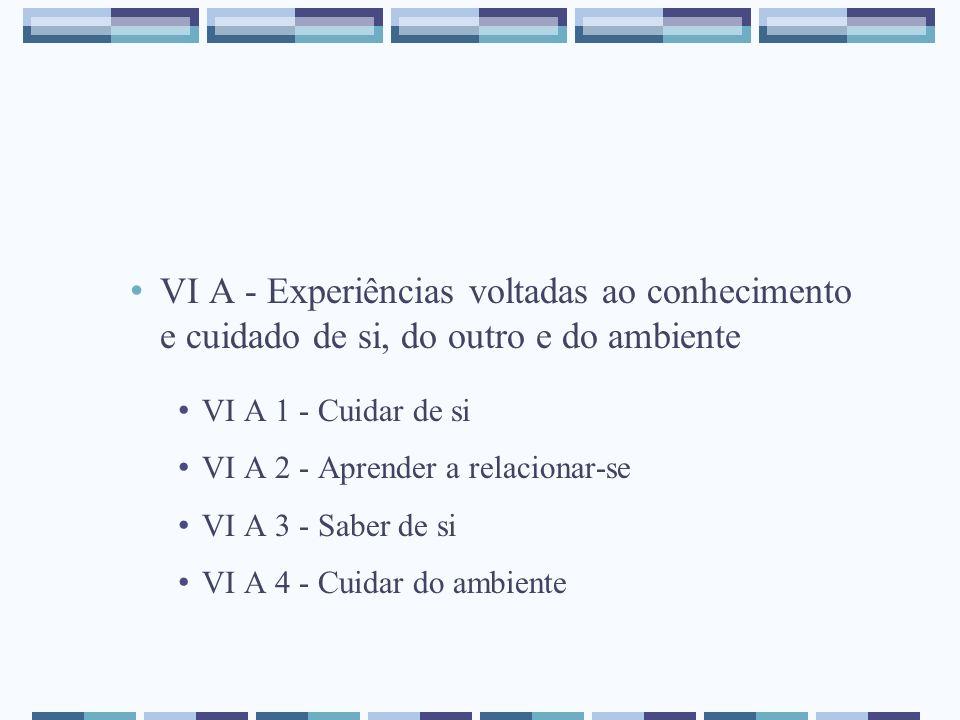 VI A - Experiências voltadas ao conhecimento e cuidado de si, do outro e do ambiente VI A 1 - Cuidar de si VI A 2 - Aprender a relacionar-se VI A 3 -