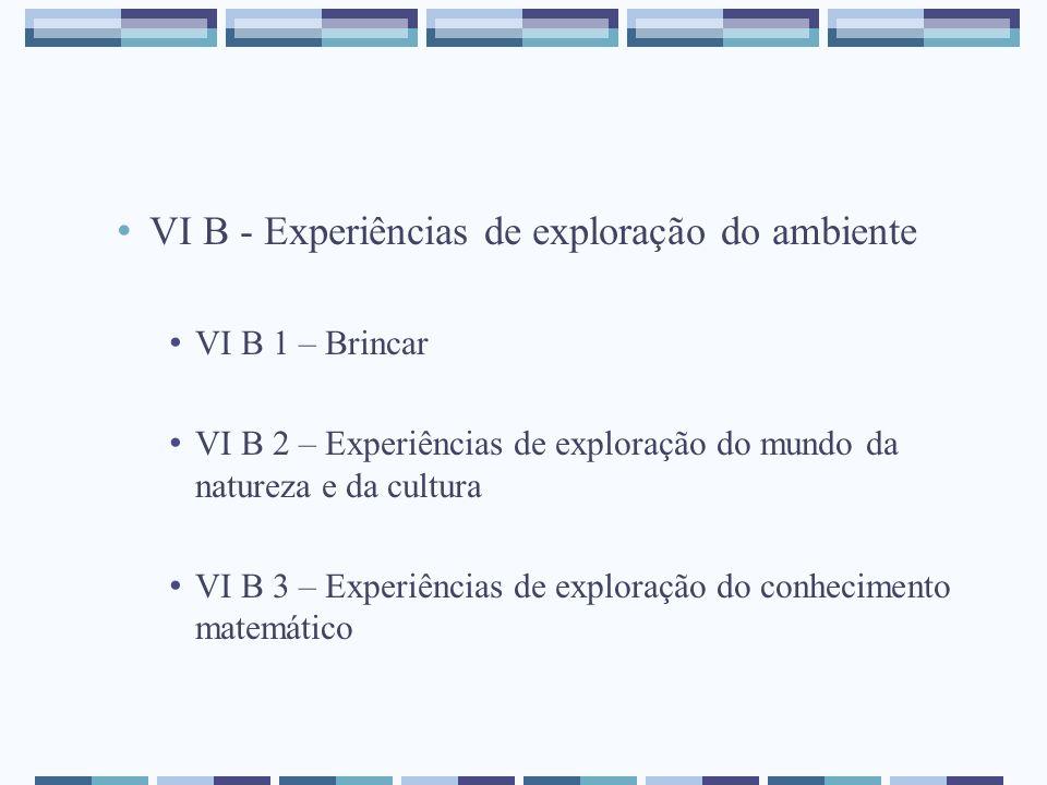 VI B - Experiências de exploração do ambiente VI B 1 – Brincar VI B 2 – Experiências de exploração do mundo da natureza e da cultura VI B 3 – Experiên