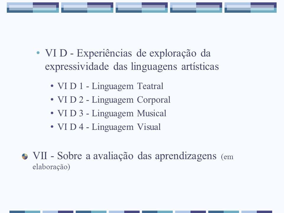 VI D - Experiências de exploração da expressividade das linguagens artísticas VI D 1 - Linguagem Teatral VI D 2 - Linguagem Corporal VI D 3 - Linguage