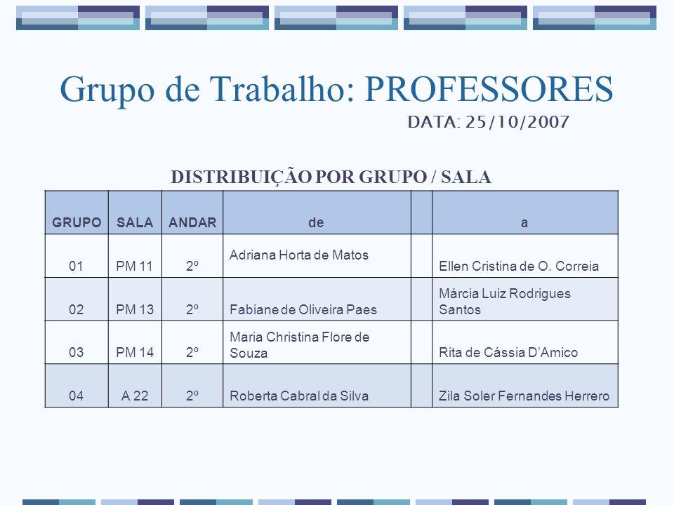 Grupo de Trabalho: PROFESSORES DISTRIBUIÇÃO POR GRUPO / SALA GRUPOSALAANDARde a 01PM 112º Adriana Horta de Matos Ellen Cristina de O. Correia 02PM 132