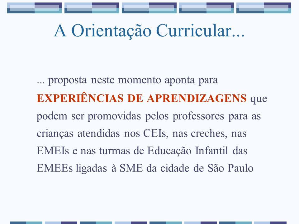 A Orientação Curricular...... proposta neste momento aponta para EXPERIÊNCIAS DE APRENDIZAGENS que podem ser promovidas pelos professores para as cria