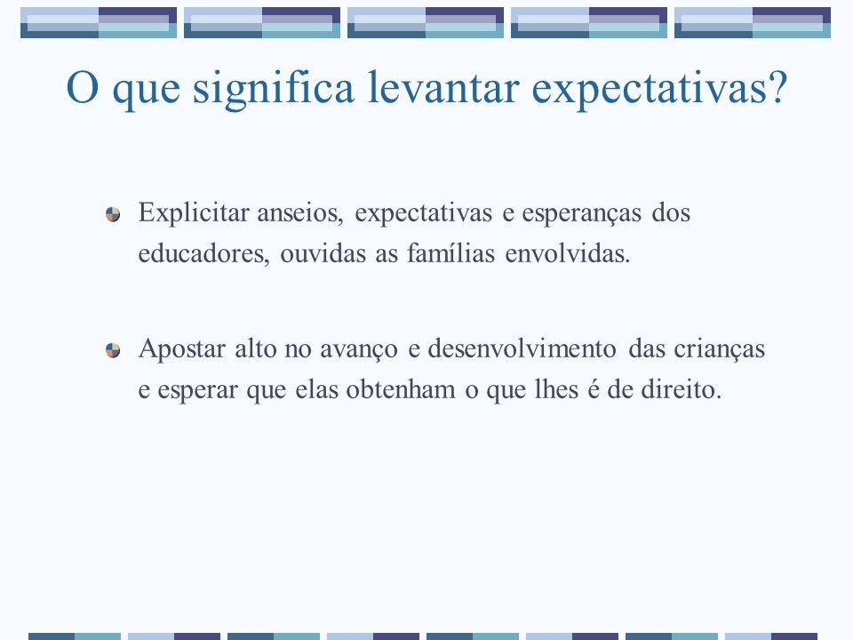 O que significa levantar expectativas? Explicitar anseios, expectativas e esperanças dos educadores, ouvidas as famílias envolvidas. Apostar alto no a