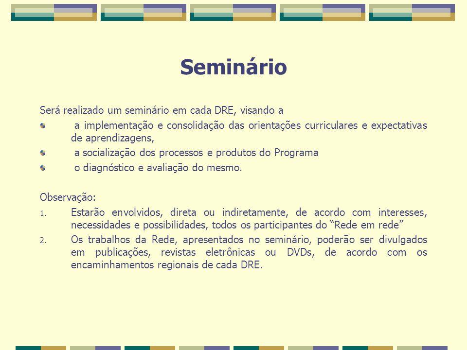 Seminário Será realizado um seminário em cada DRE, visando a a implementação e consolidação das orientações curriculares e expectativas de aprendizagens, a socialização dos processos e produtos do Programa o diagnóstico e avaliação do mesmo.