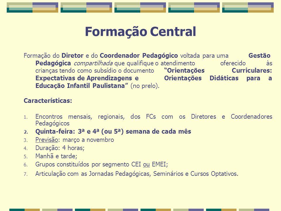Formação Central Formação do Diretor e do Coordenador Pedagógico voltada para uma Gestão Pedagógica compartilhada que qualifique o atendimento ofereci