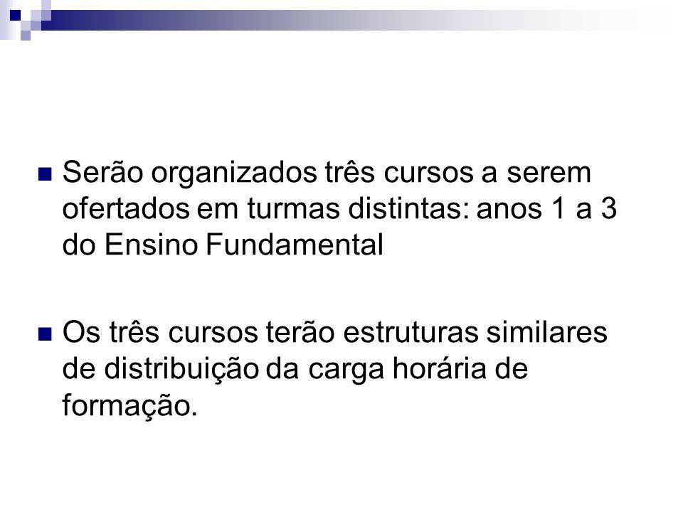 Serão organizados três cursos a serem ofertados em turmas distintas: anos 1 a 3 do Ensino Fundamental Os três cursos terão estruturas similares de dis