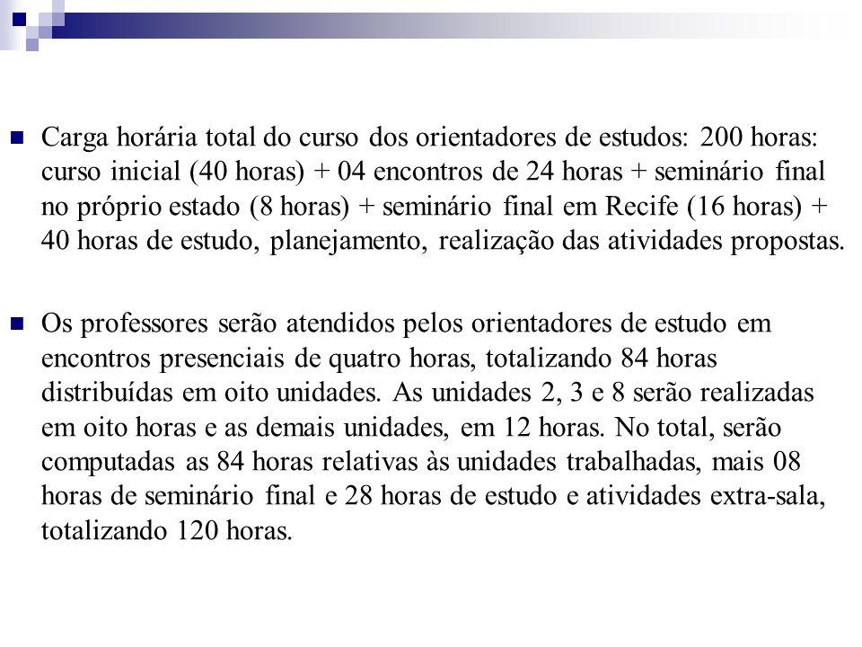 Carga horária total do curso dos orientadores de estudos: 200 horas: curso inicial (40 horas) + 04 encontros de 24 horas + seminário final no próprio